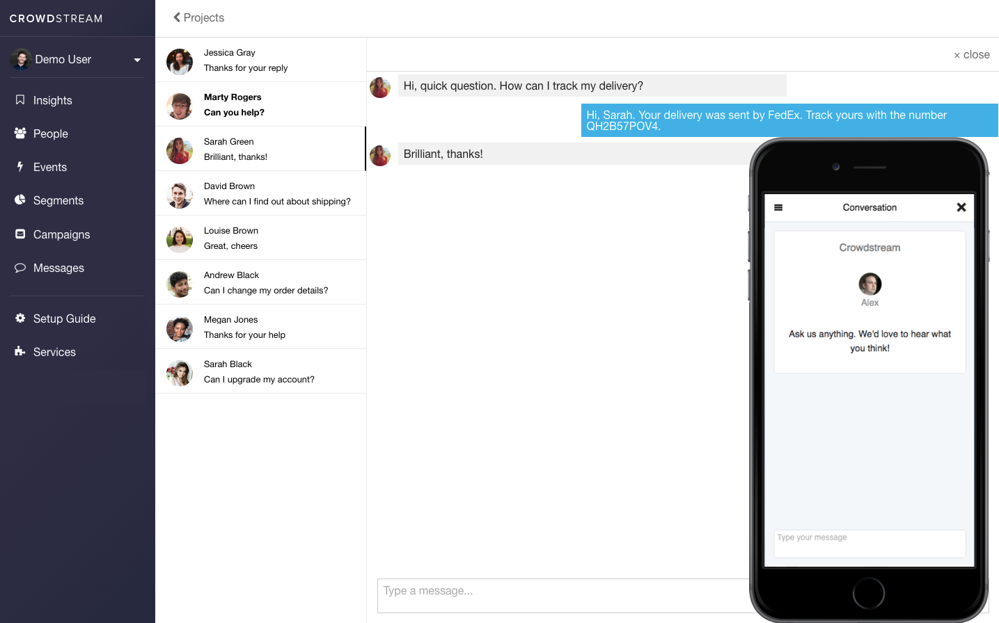 Screenshot of live chat software